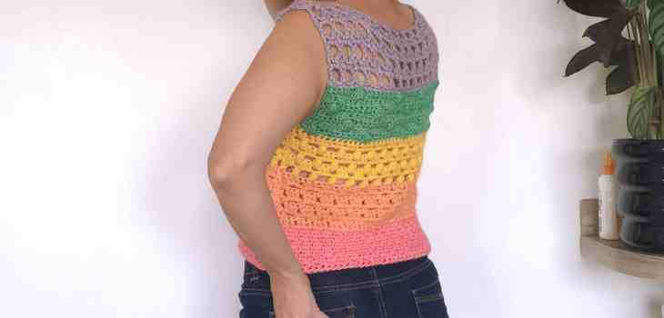 Summer crochet top rainbow vest