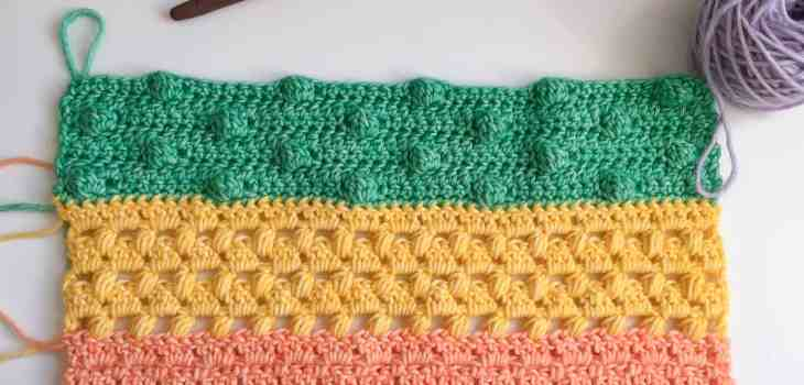 crochet cluster stitch on rainbow crochet fabric