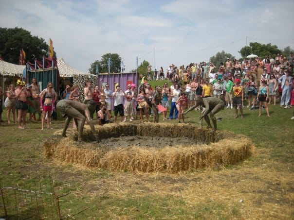 mud wrestling at secret garden party