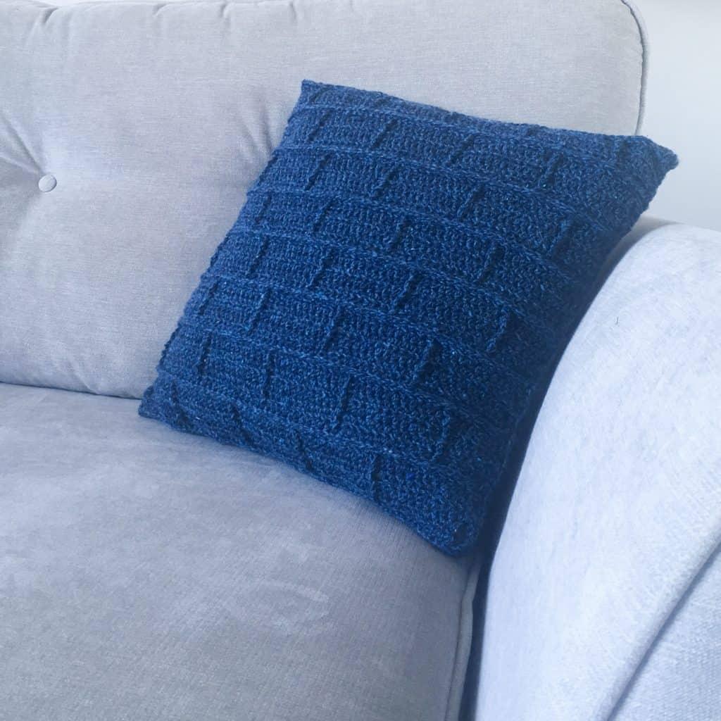 The Building Blocks crochet pillow