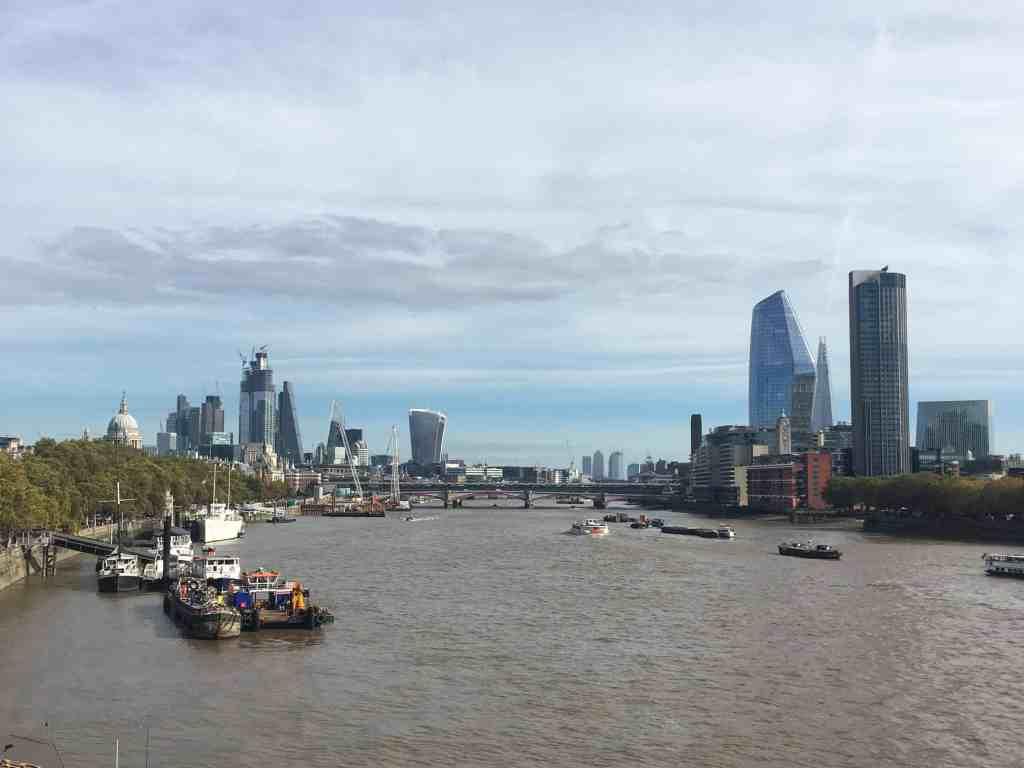 London city skyline from bridge