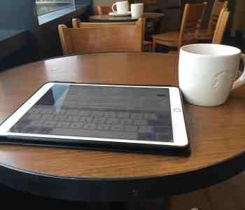 iPad on table in Starbucks