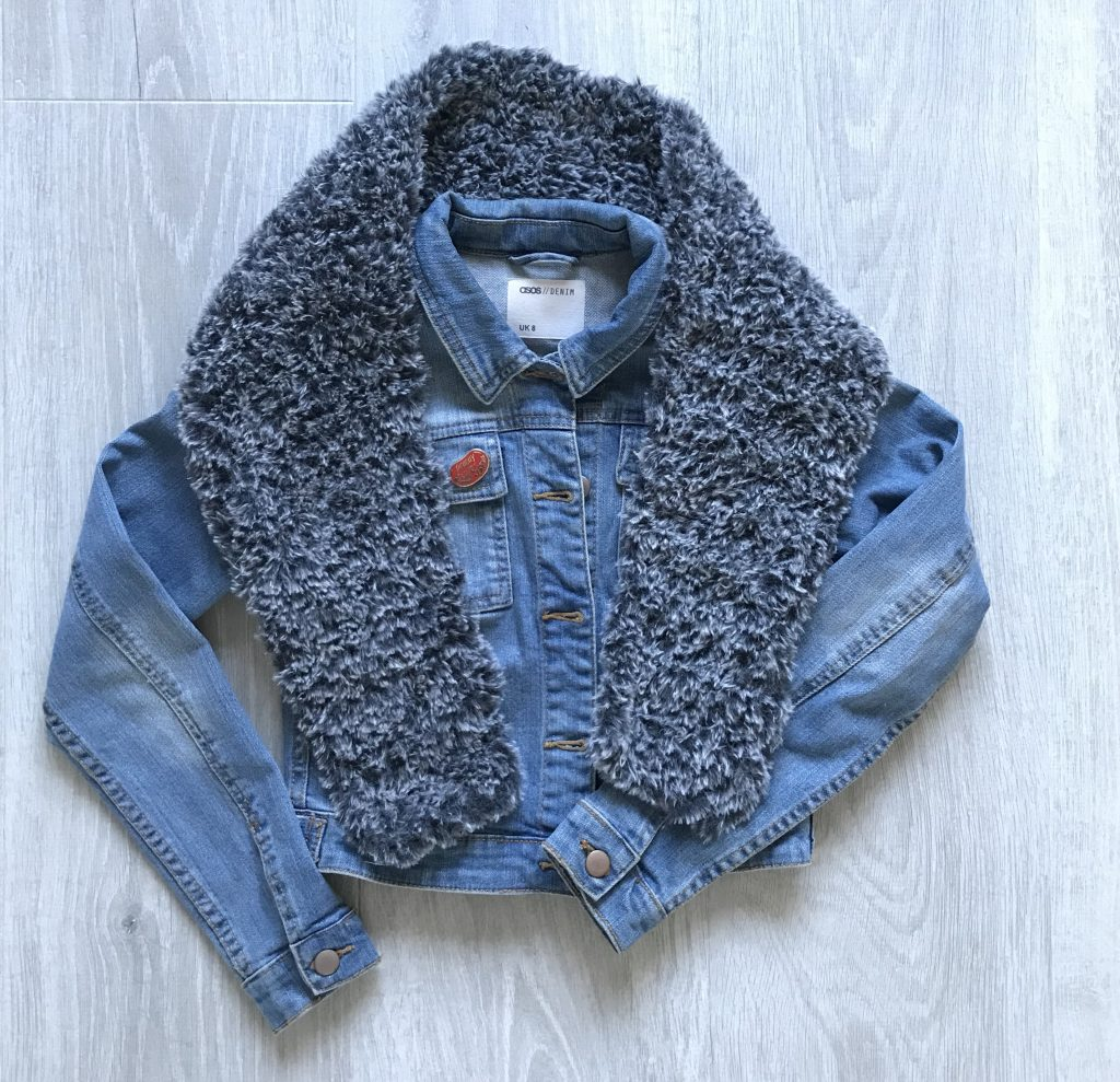 Faux fur crochet scarf with denim jacket