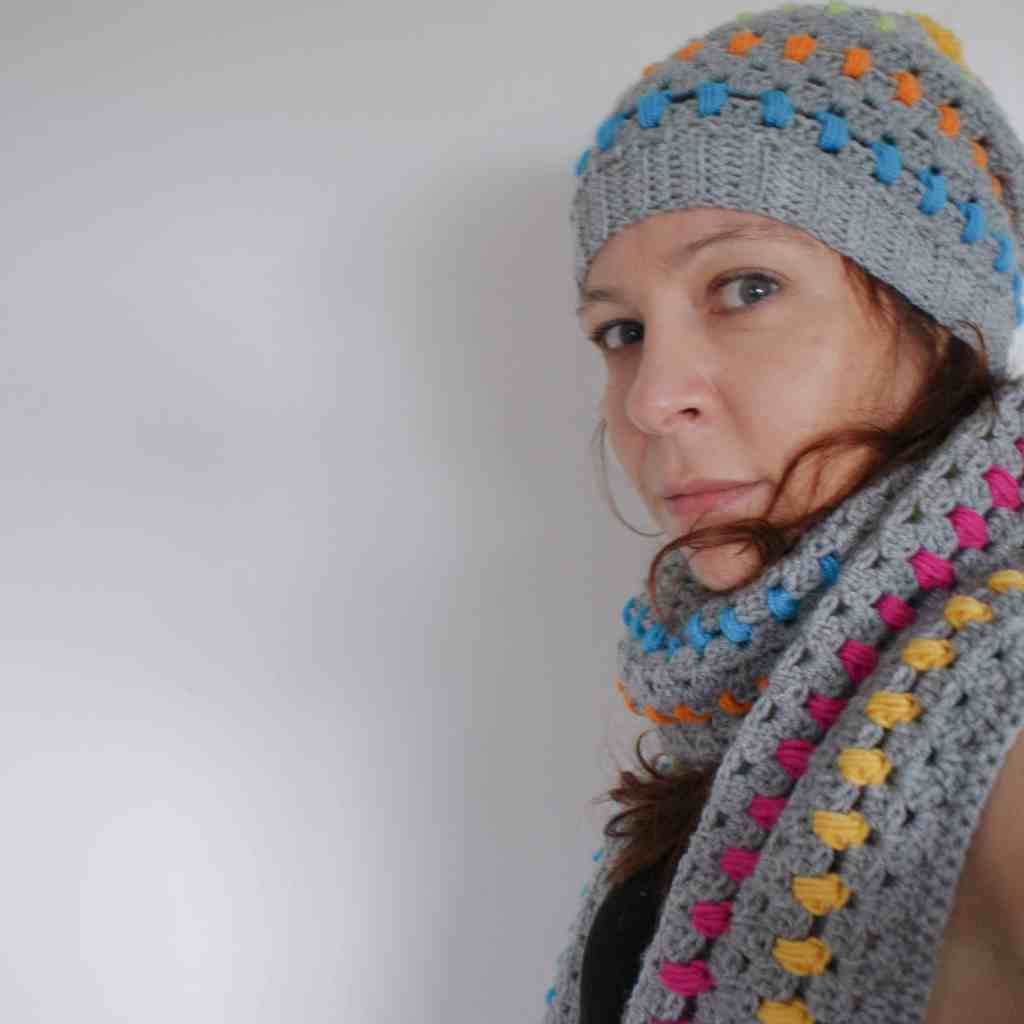 Rainbow and grey crochet pom pom hat and scarf