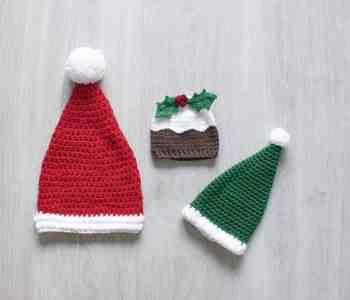 Christmas Pudding elf and santa crochet hats