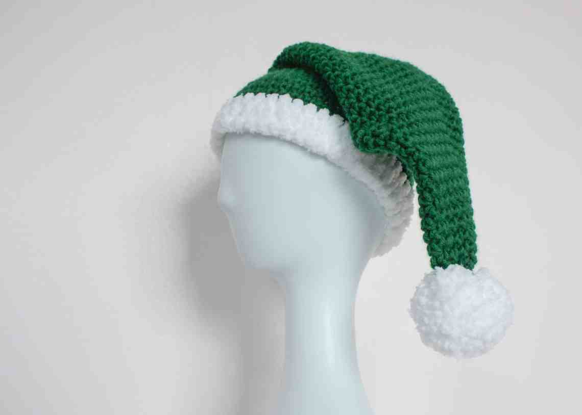 Crochet Elf Hat on mannequin