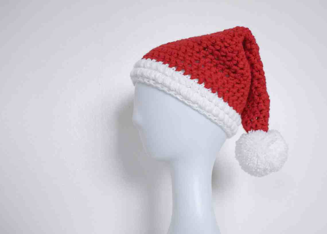Crochet santa hat on mannequin