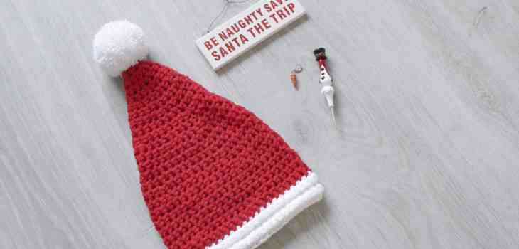 Crochet santa hat with christmas decorations crochet hook