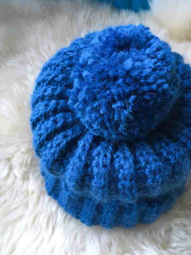 Blue fluffy crochet bobble hat from Dora does