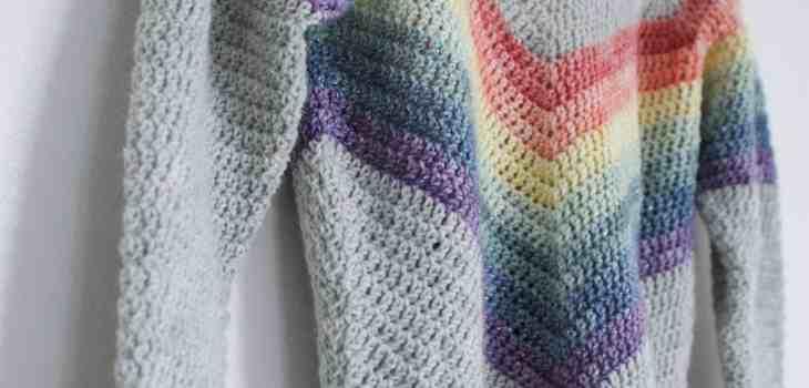 Close up of rainbow crochet sparkles
