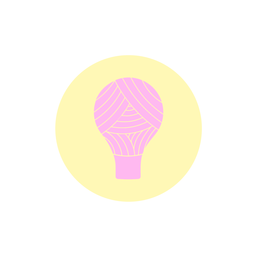 Logo of Pink lightbulb made from yarn on yellow circle