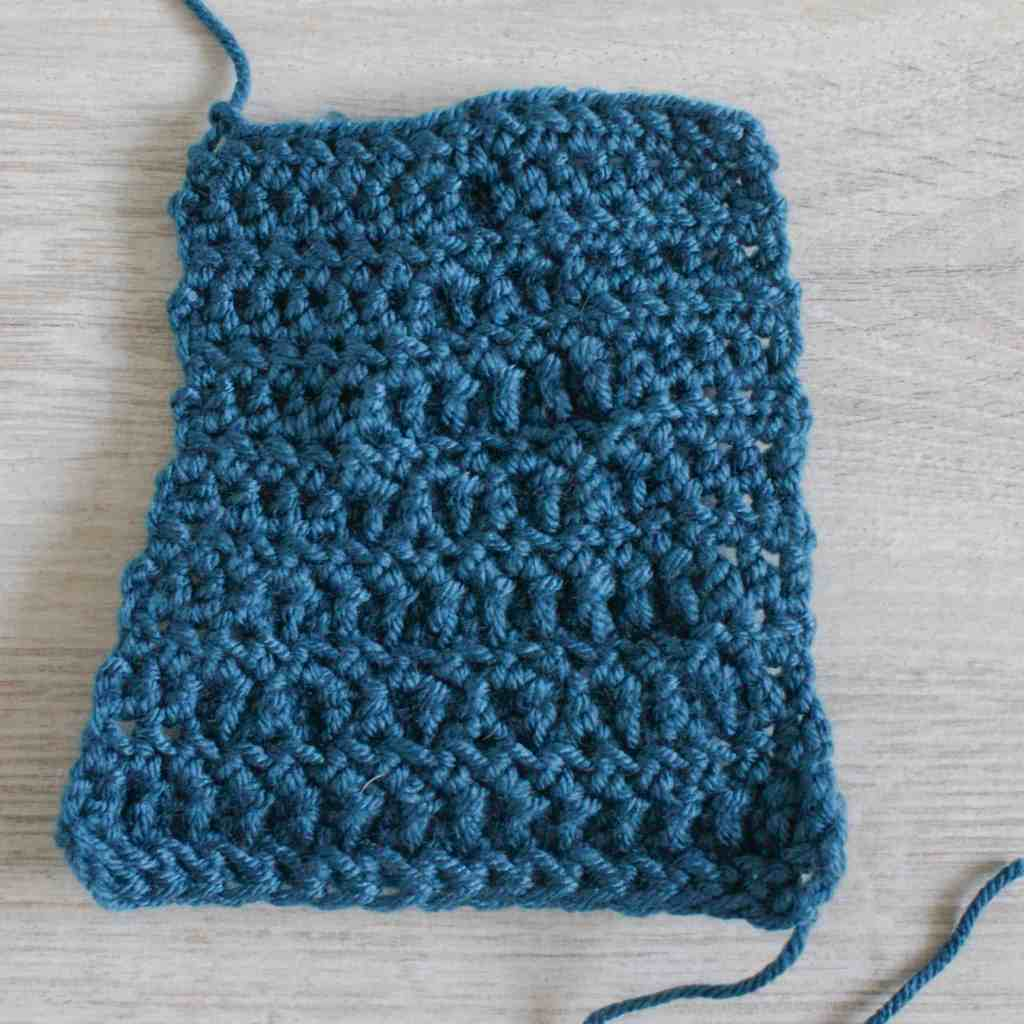 Back / wrong side of the crochet popcorn stitch swatch