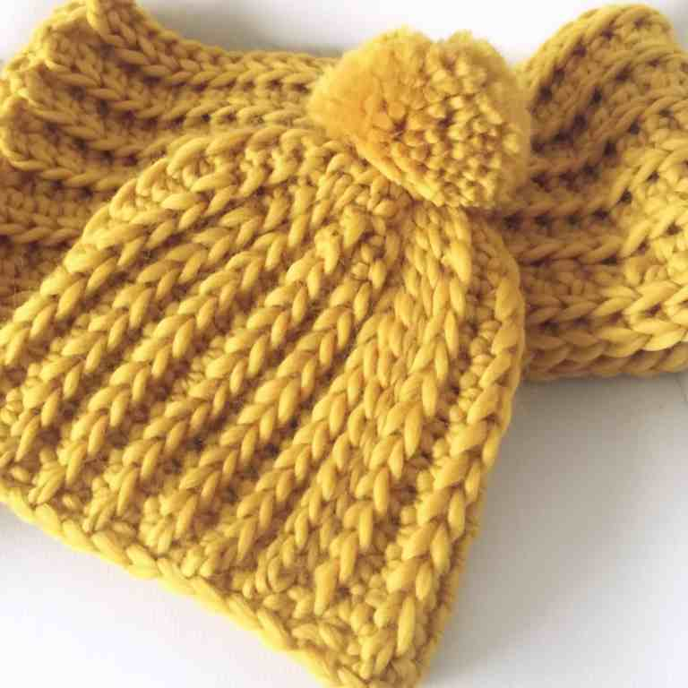 golden mustard chunky crochet hat and scarf set