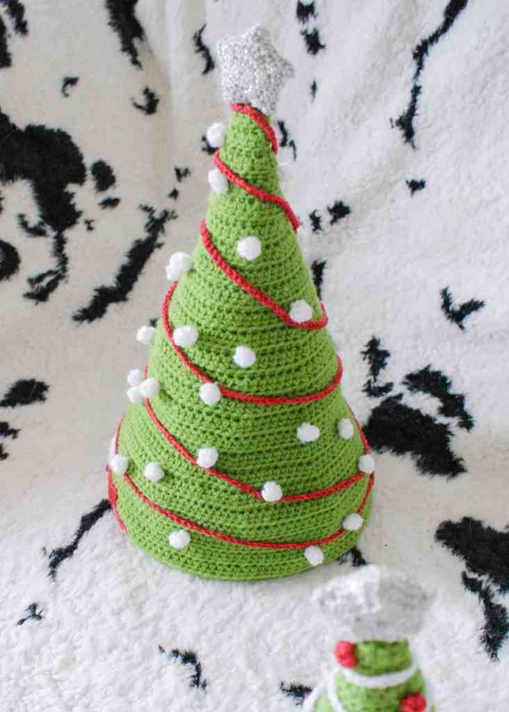 Small and large crochet christmas tree hats