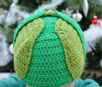 Top of the head of a crochet Brussels spout hat