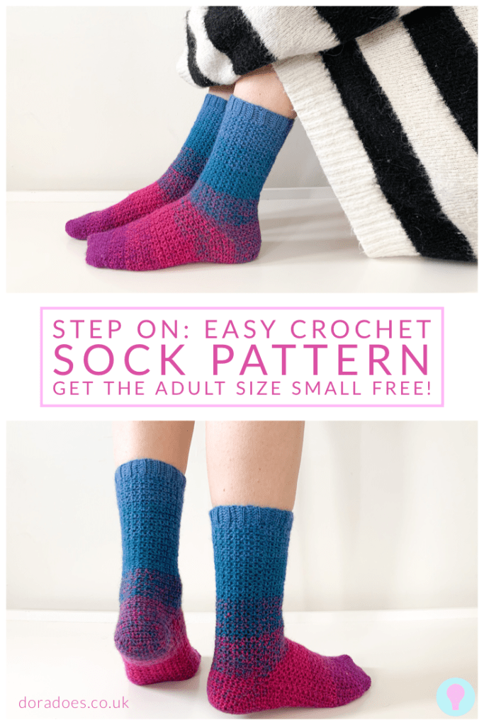 Pin image for the step on sock pattern 2 images of woman's sock clad feet one sitting with standing with sock title text between