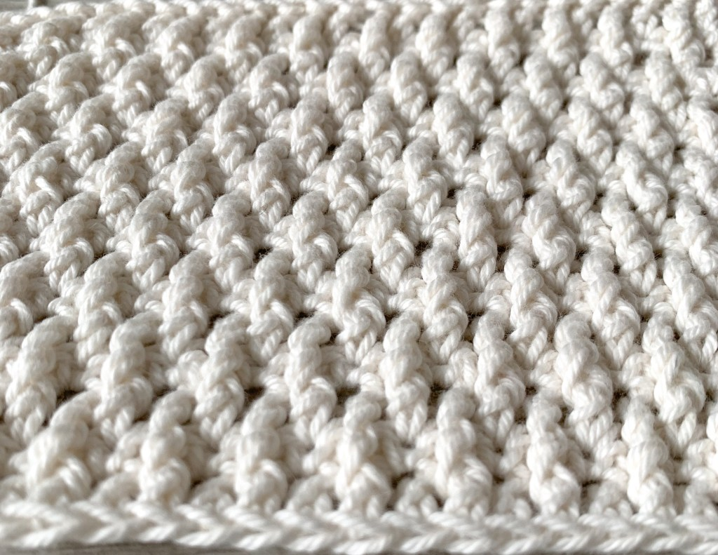 White crochet alpine switch seen from a close angle