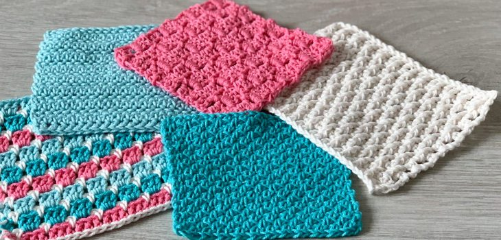 5 mindful crochet stitch swatches