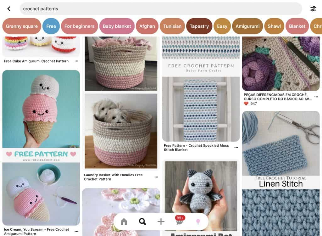 A screen shot of crochet pattern search result on Pinterest with buttons to filter for category