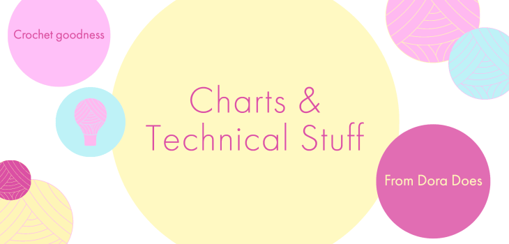charts and technical stuff written in a yellow bubble with colourful yarn bobbles surrounding it