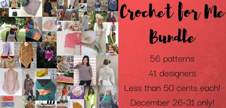 A collage of crochet patterns with the text describing the crochet for me bundle offer