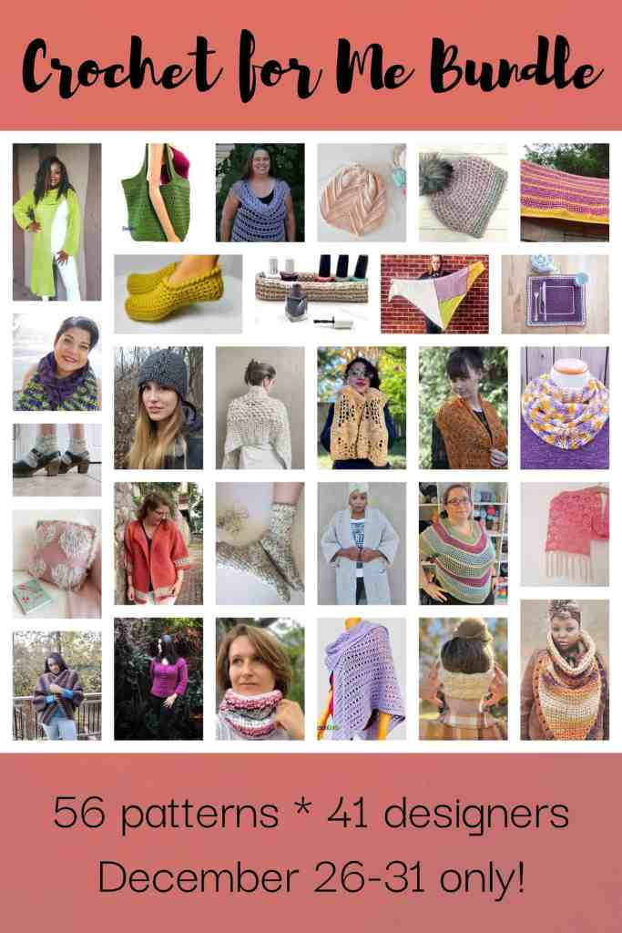 A collage of crochet pattern images with the text 'crochet for me bundle' at the top and '56 patterns, 41 designers December 26-31 only!' at the bottom