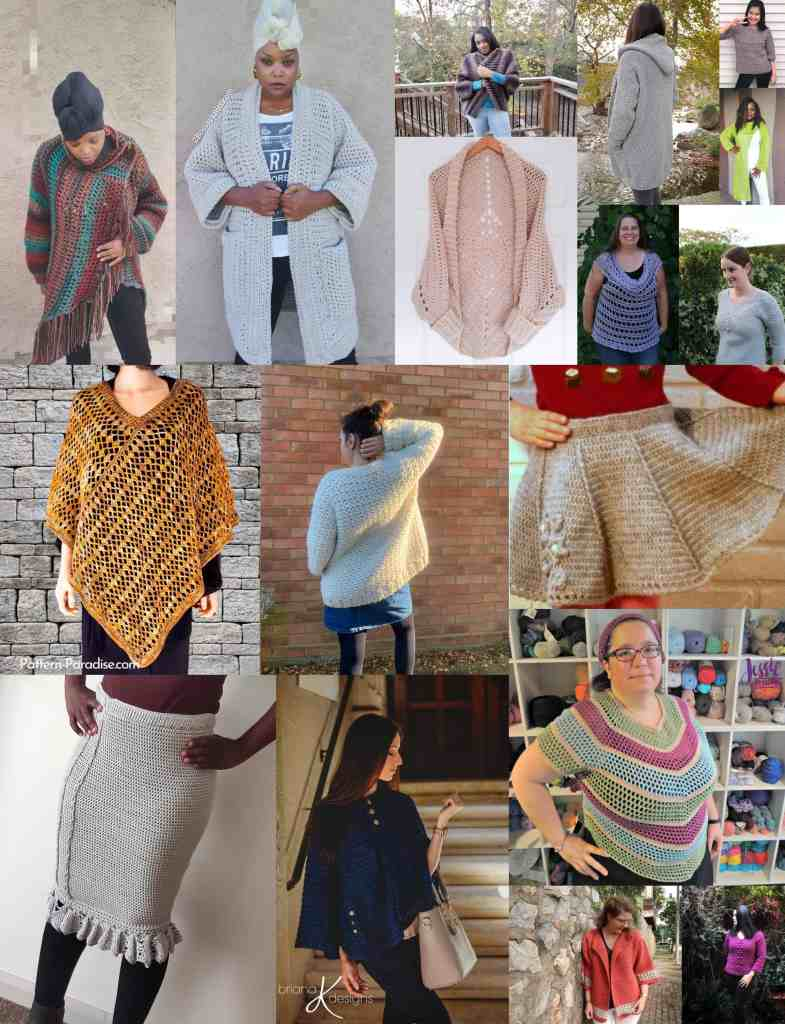 a collage of garment patterns included in the crochet for me bundle