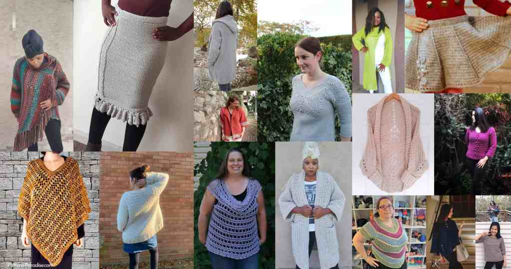 a landscape collage of crochet patterns included in the crochet for me bundle