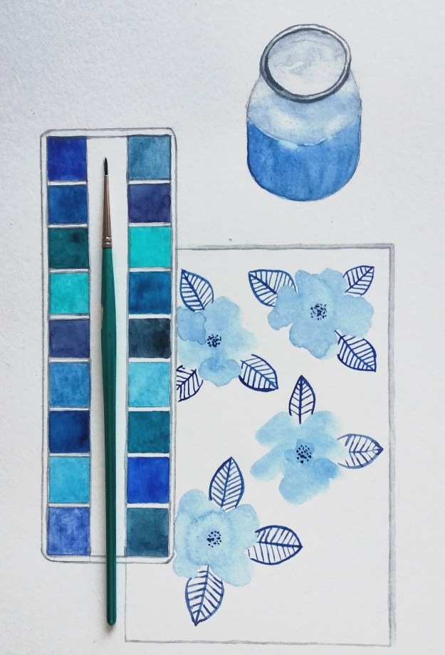 Blue palette and flowers