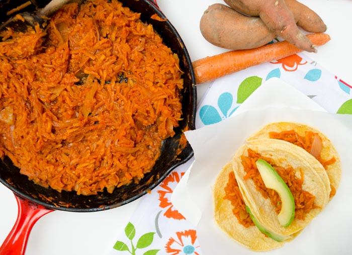Sweet potato and carrot tinga tacos are a bit sweet, the chipotle-tomato sauce adds a tanginess and spiciness that will keep you coming back.