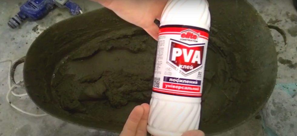 Добавление клея ПВА в строительные растворы улучшает пластичность бетона