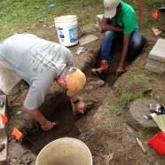 Searching through the historic school's trash pit. (Boston City Archaeology Program)