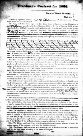 Freedmen's Labor Contracts were installed by the Freedmen's Bureau in 12 southern states and the District of Columbia. Although many freed slaves joined into these contracts, the promise of supplies and eventual self-sufficiency attracted many others, including Civil War veterans.