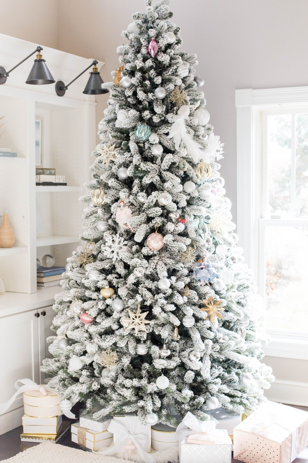 flocked Christmas tree decorating ideas