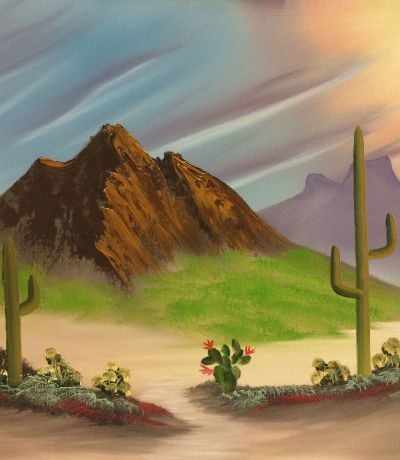 """Bob Ross painted this Southwest Brown Mountain for his PBS program """"The Joy of Painting"""" during the second season of the series. This version of the painting depicts a desert scene with brown mountain, cactus and desert flowers. This is a very enjoyable painting to paint!"""