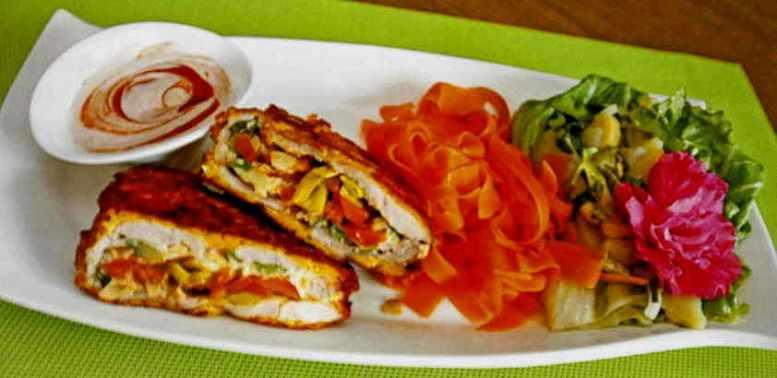 Kalbsschnitzel mit Gemüsefülle