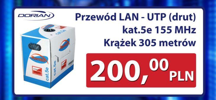 Przewód sieciowy LAN-UTP (drut) kat.5e 155 MHz