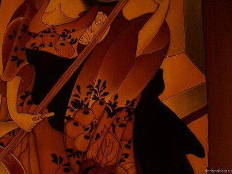 Ирина Агалакова - холодный батик, натуральный шелк. (Декоративный фрагмент). Японский мотив