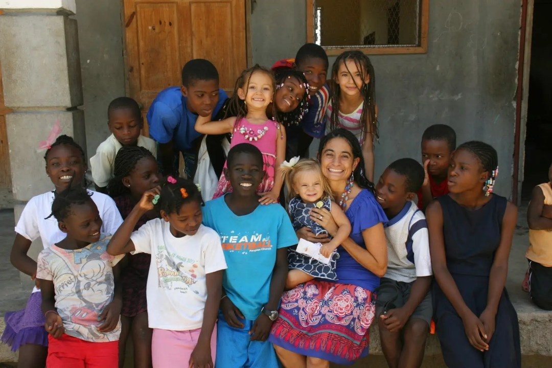 Orphans in Haiti on porch