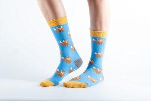 Womens Fox bamboo socks - blue and yellow