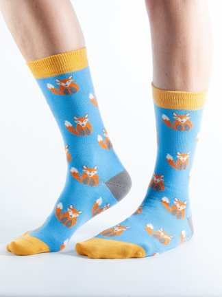 Womens Fox bamboo socks - blue and yellow
