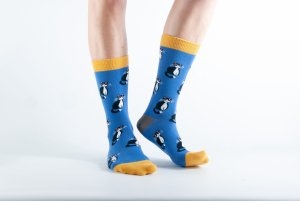 Womens Cat bamboo socks - blue and yellow