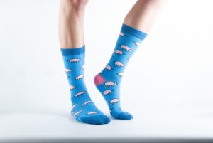 Womens Pig bamboo socks - blue and dark blue