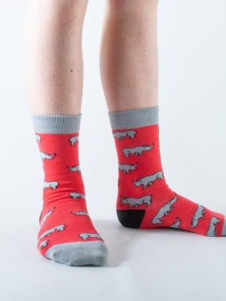 Kids Rhino bamboo socks - red and grey