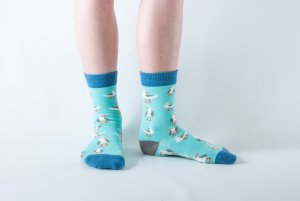 Kids Seagull bamboo socks - mint and blue