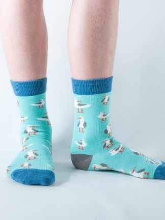 Kids Seagull bamboo socks - mint and blue