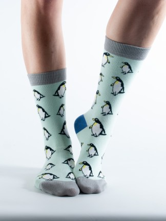 Womens Penguin socks - mint and light grey