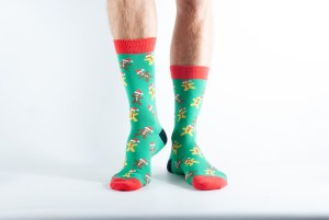 Mens Gingerbread bamboo socks - green and red