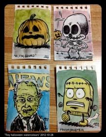 tiny halloween watercolours