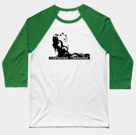 Bodhi Rook Defector baseball t-shirt from Dork Side Productions